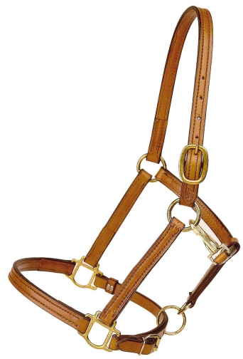 TORY LEATHER Cob Halter - Crown Buckle & Brass Hardware