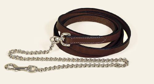 "TORY LEATHER 3/4"" Single Ply Lead - Brass Plated Chain"