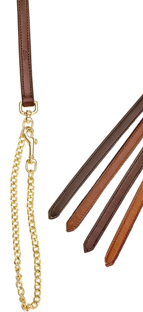 "TORY LEATHER 3/4"" Double & Stitched Lead - Brass Plated Chain"