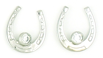 Finishing Touch Horseshoe with Large Stone Earrings