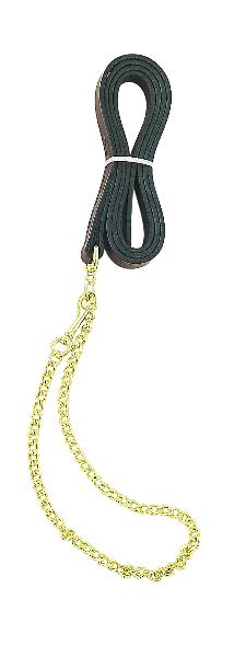 "Perri's Leather Lead With Fine 30"" Plated Chain"