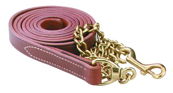 "Perri's Leather Lead With 30"" Solid Brass Chain"