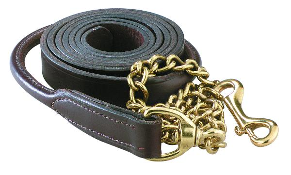 "Perri's Rolled Leather Lead With 30"" Solid Brass Chain"