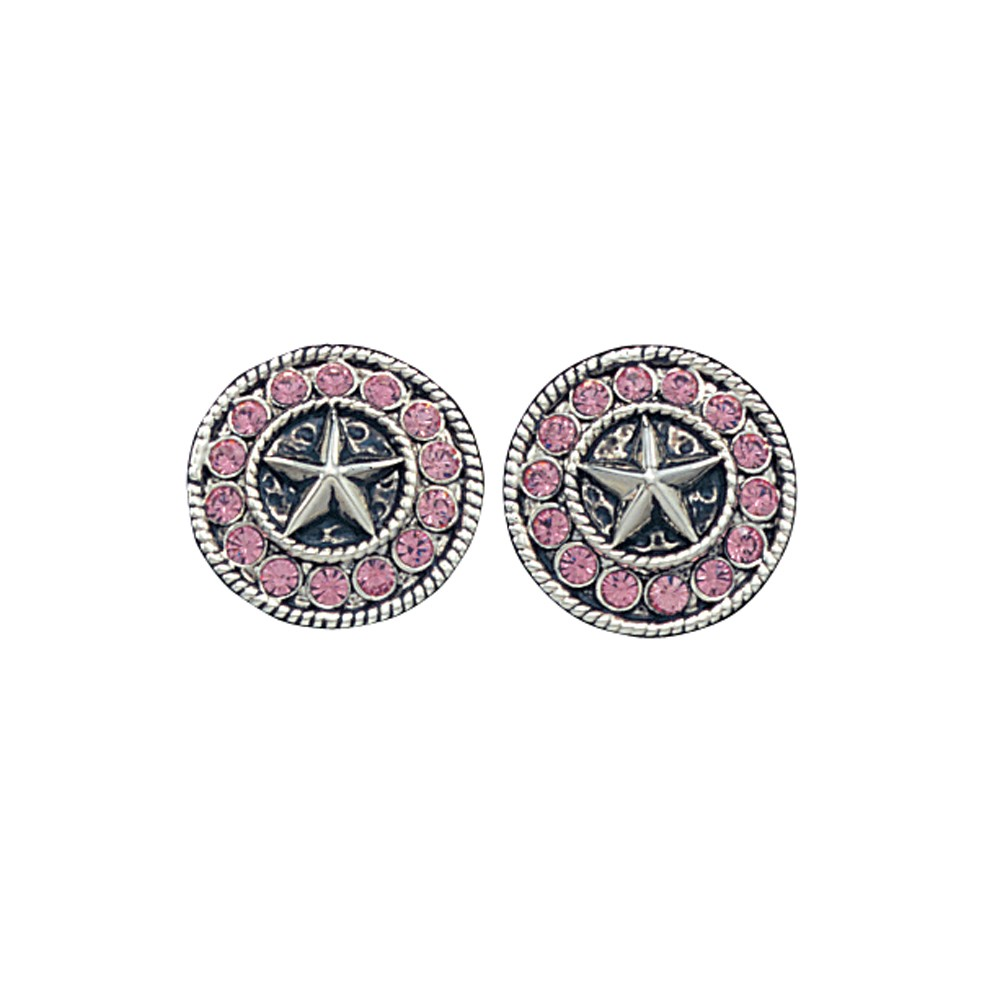 Montana Silversmiths Star Concho Bling Earrings with Pink Rhinestones