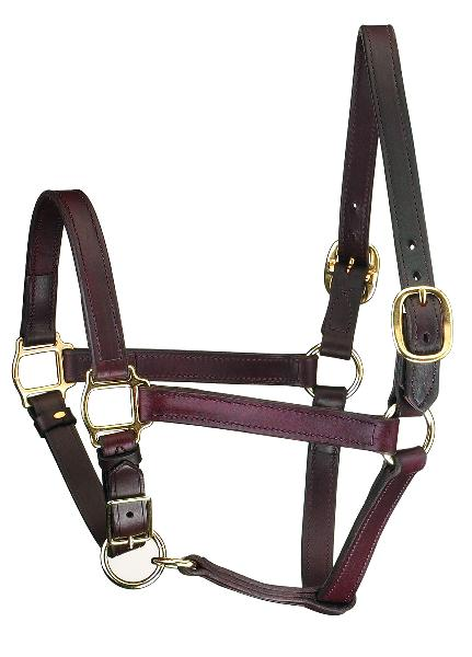 Perri's Track Style Leather Turnout Halter/Adjustable Chin