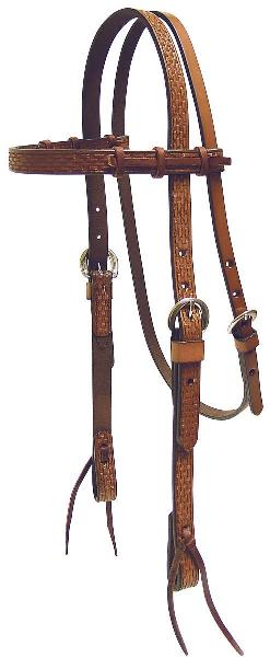 Tex Tan Basket Tooled Browband Headstall with Strings