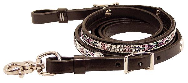 Tex Tan Reins Roping with Aztec Overlay