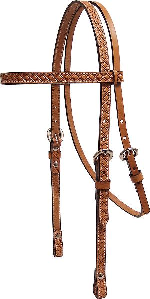 Tex Tan Waffle-Tooled Leather 5/8'' Browband Headstall