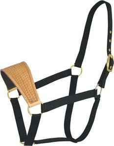 Abetta Nylon Halter with Basket-Tooled Leather Noseband