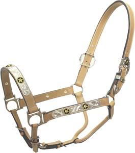 Cowboy Pro Leather Show Halter With Star Silver