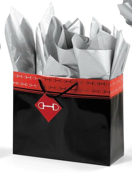 Polished Bits Horizontal Vogue Gift Bag - Black/Red