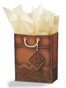 Tooled Leather Cub Gift Bag - Brown