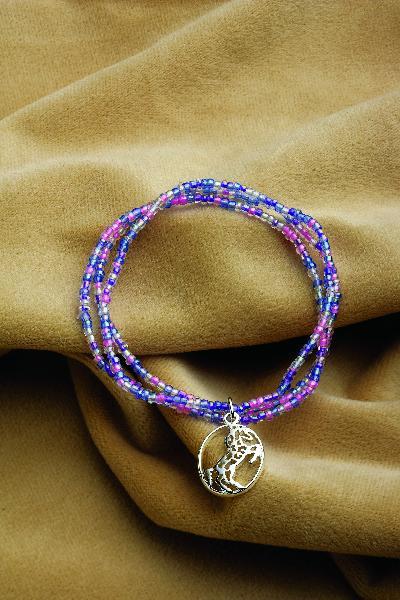 Rearing Horse Pendant Beaded Bracelet