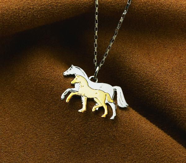 Mare and Foal Two Toned Pendant Necklace