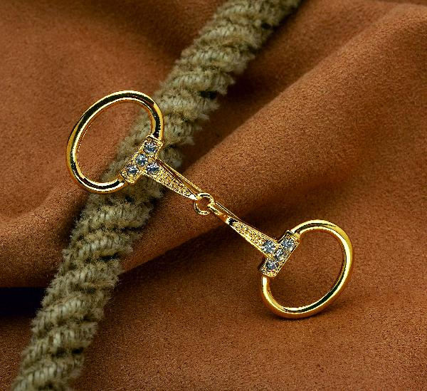 Gold Snaffle Bit Stock Tie Pin