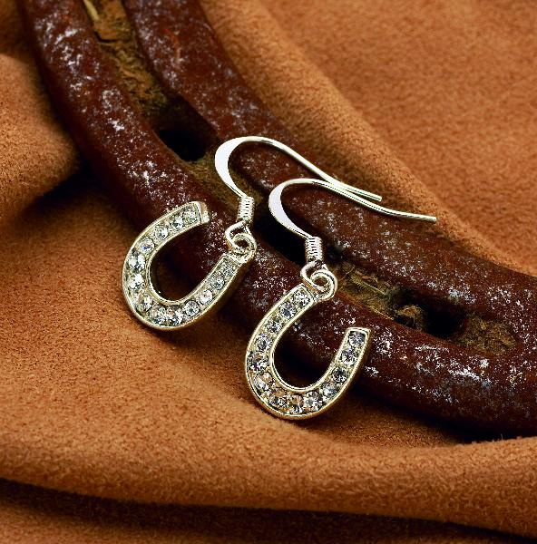 Rhinestone Horseshoe Dangle Earrings