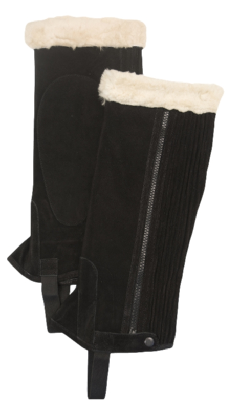 Gatsby Girl Ladies Suede Half Chaps with SheepSkin Trim