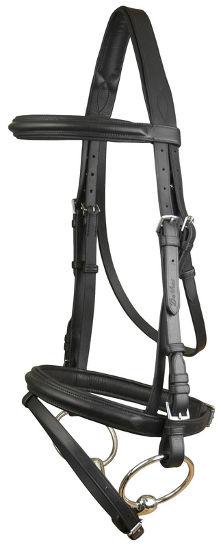 DaVinci Plain Raised Padded Comfort Crown Dressage Bridle with Flash less Reins