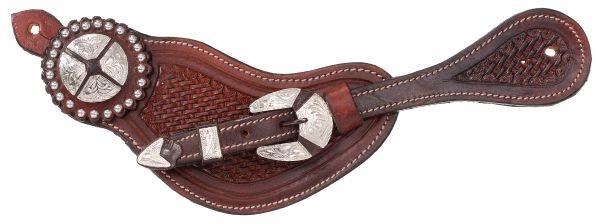 Tough-1 Premium Leather Men's Basket Tooled Spur Straps