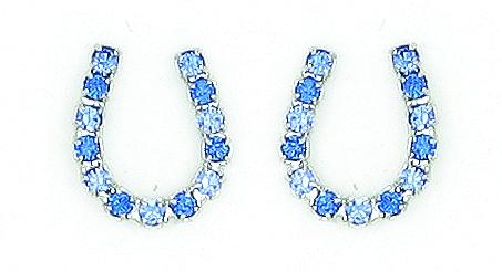 Finishing Touch Blue Rhinestone Horseshoe Earrings