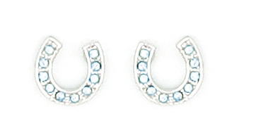 Finishing Touch Horseshoe Light Sapphire Stone Earrings