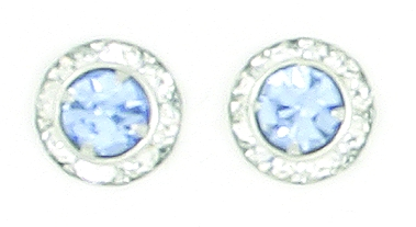 Finishing Touch Crystal Rondelle Earrings - Light Sapphire