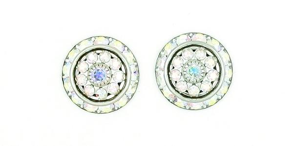 Finishing Touch Stone Rondelle Earrings - Aurora Borealis