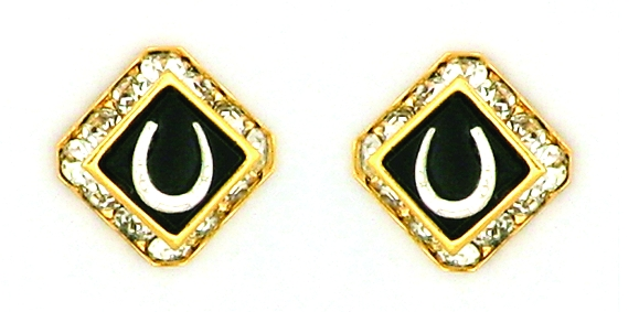 Finishing Touch Sq Swarovski Crystal Rondell with Imitation Rhod Horseshoe On Black Onyx Stone Center Gold