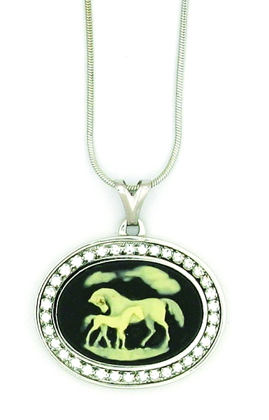 Finishing Touch Swarovski Crystal Stone Mare and Foal Cameo Necklace - Black Onyx