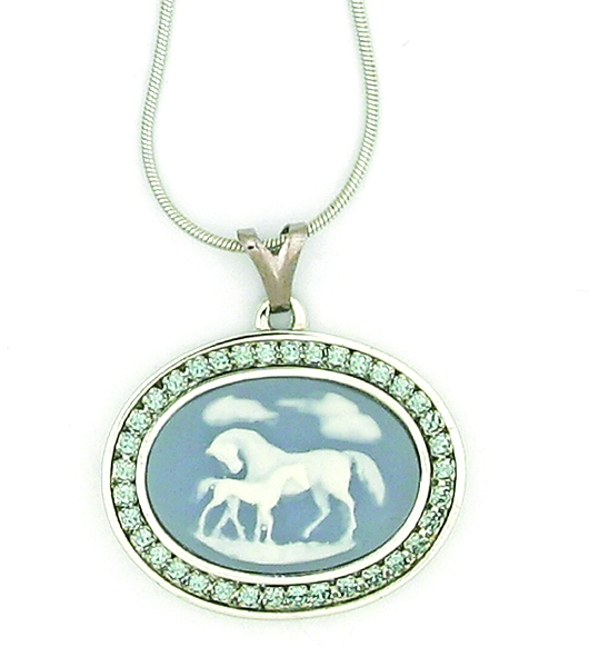 Finishing Touch Swarovski Crystal Stone Mare and Foal Cameo Necklace - Blue