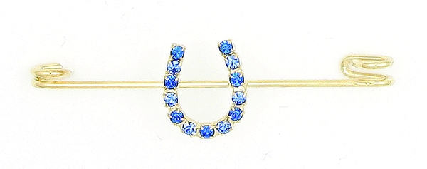 Finishing Touch Blue 2-Tone Rhinestone Horseshoe Stock Pin
