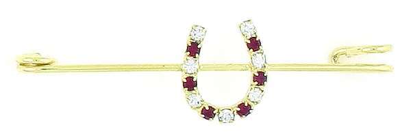 Finishing Touch Crystal Horseshoe Stock Pin - Ruby