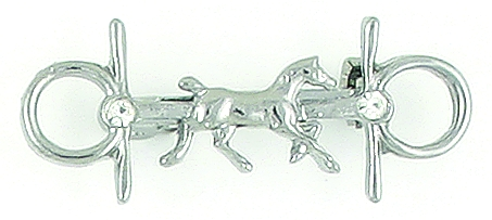 Finishing Touch Trotting Horse On Snaffle Bit with Stones Stock Pin