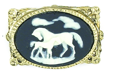 Finishing Touch Mare and Foal Cameo Pin - Black