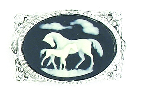Finishing Touch Mare and Foal Cameo Pin - Blue
