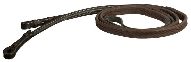 DaVinci Fancy Raised Rubber Covered Reins with Hook Stud Ends