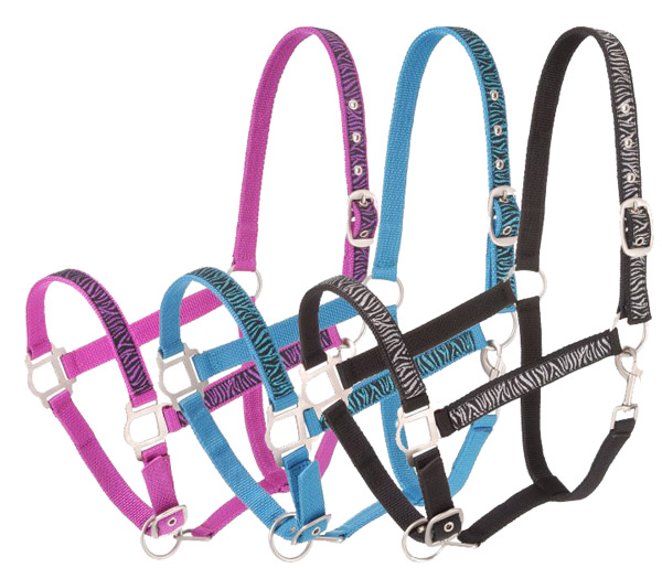 Tough-1 6 Pack Nylon Halter with Glittery Zebra Print and Satin Hardware