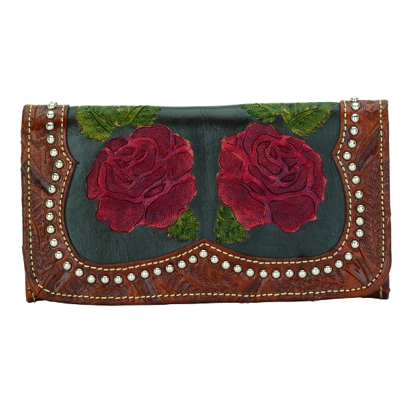 AMERICAN WEST Roses Are Red Ladies' Tri-Fold Wallet