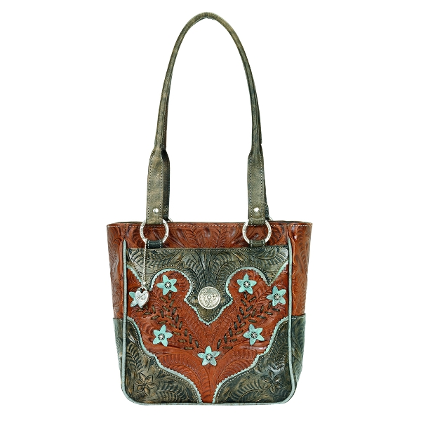 AMERICAN WEST Desert Wildflower Zip Top Tote Handbag
