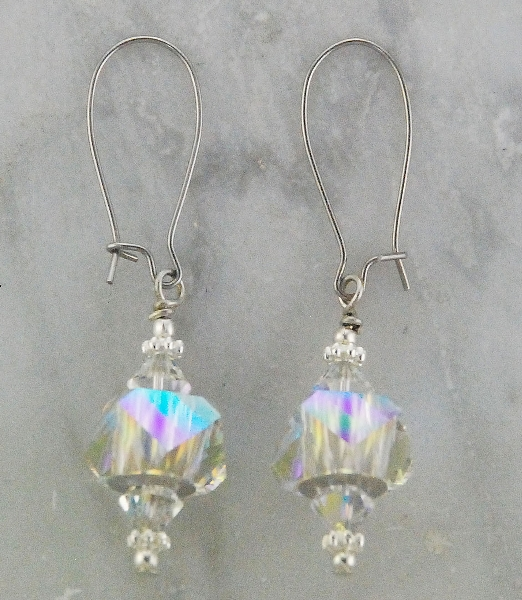 Finishing Touch Stone Dangle Earrings - Aurora Borealis