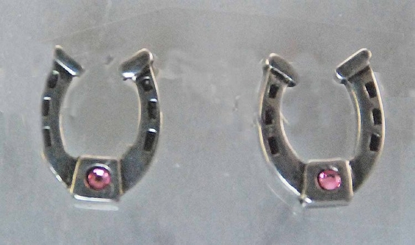 Finishing Touch Horseshoe with Pink Stone Post Earrings