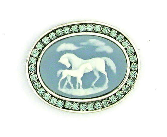 Finishing Touch Swarovski Crystal Stone Mare and Foal Cameo Pin - Light Blue