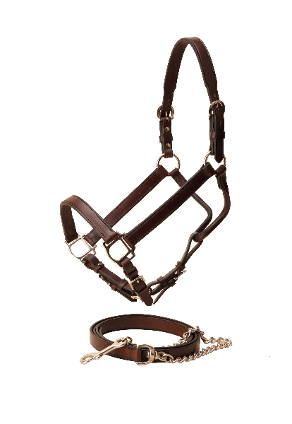 TORY LEATHER Tapering Crown Show Halter & Chain - Nickel
