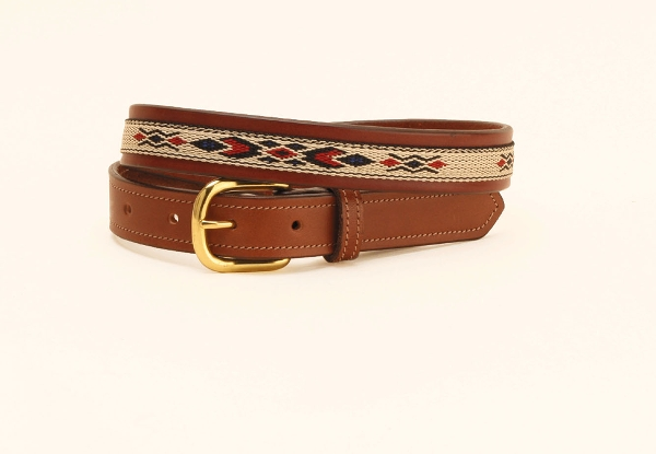 TORY LEATHER 1'' Belt with Synthetic Horse Hair