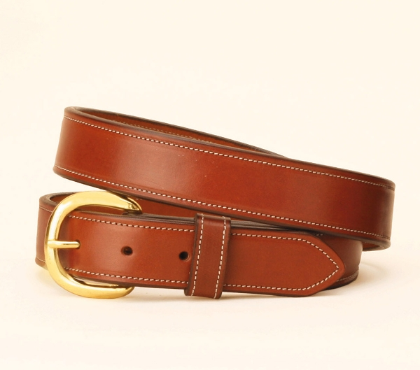 "TORY LEATHER 1 1/4"" Double & Stitched Belt"