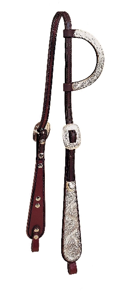 Tory Leather Old West Oklahoma Style One Ear Headstall With Wide Buckaroo Cheeks