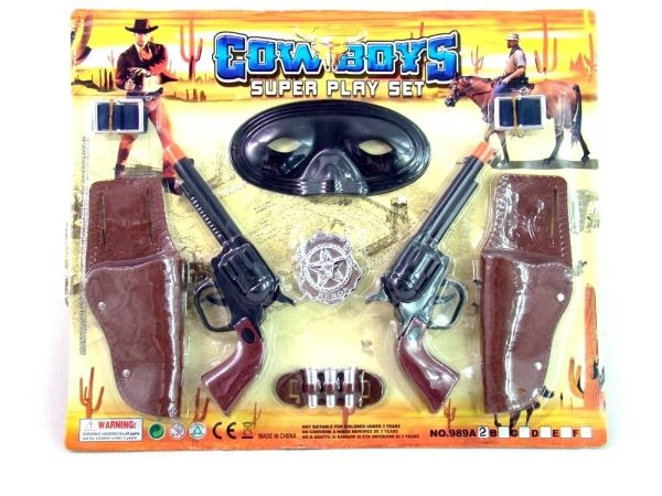 Gift Corral Double Pistols with Holsters and Mask