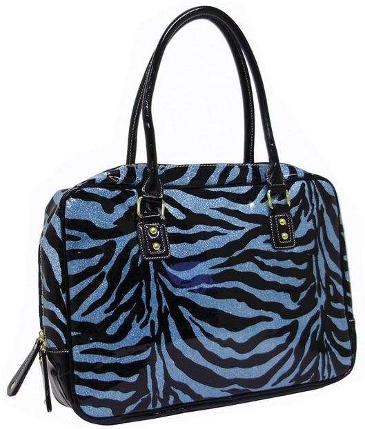 Zebra Glitter Print Computer Bag