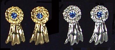 Large Blue Ribbon Earrings