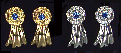 Small Blue Ribbon Earrings